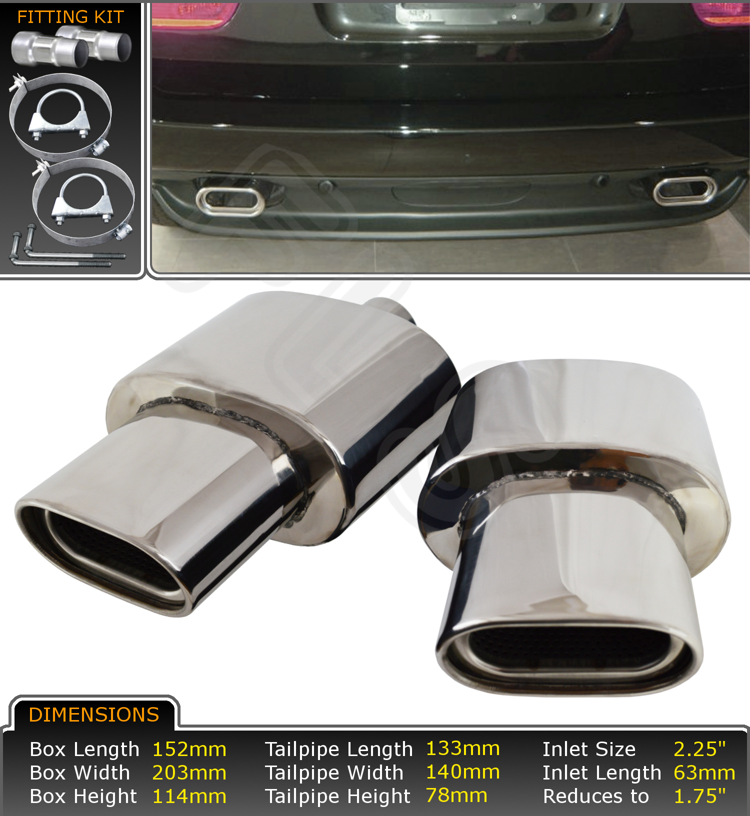 bmw x5 e53 diesel petrol stainless steel exhaust back box tip tail pipe x2. Black Bedroom Furniture Sets. Home Design Ideas