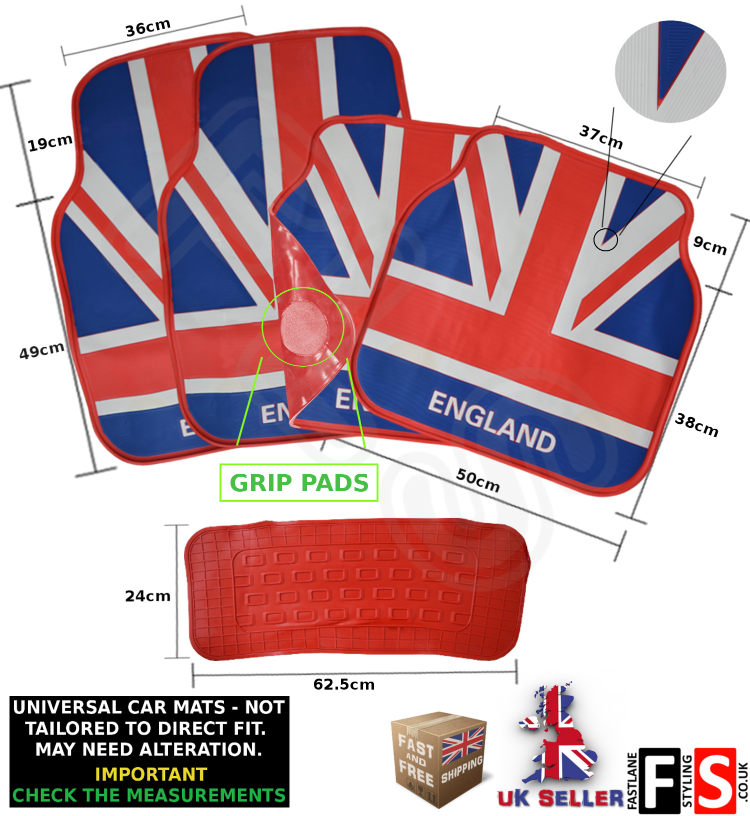 Universal 5 Piece Car Floor Mats Set Rubber British Union