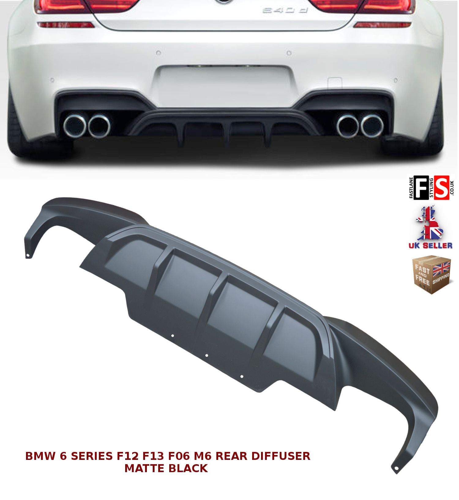 Genuine BMW 6 F12 F13 F06 11-17 REAR BUMPER DIFFUSER WITH TWO MUFFLER HOLES