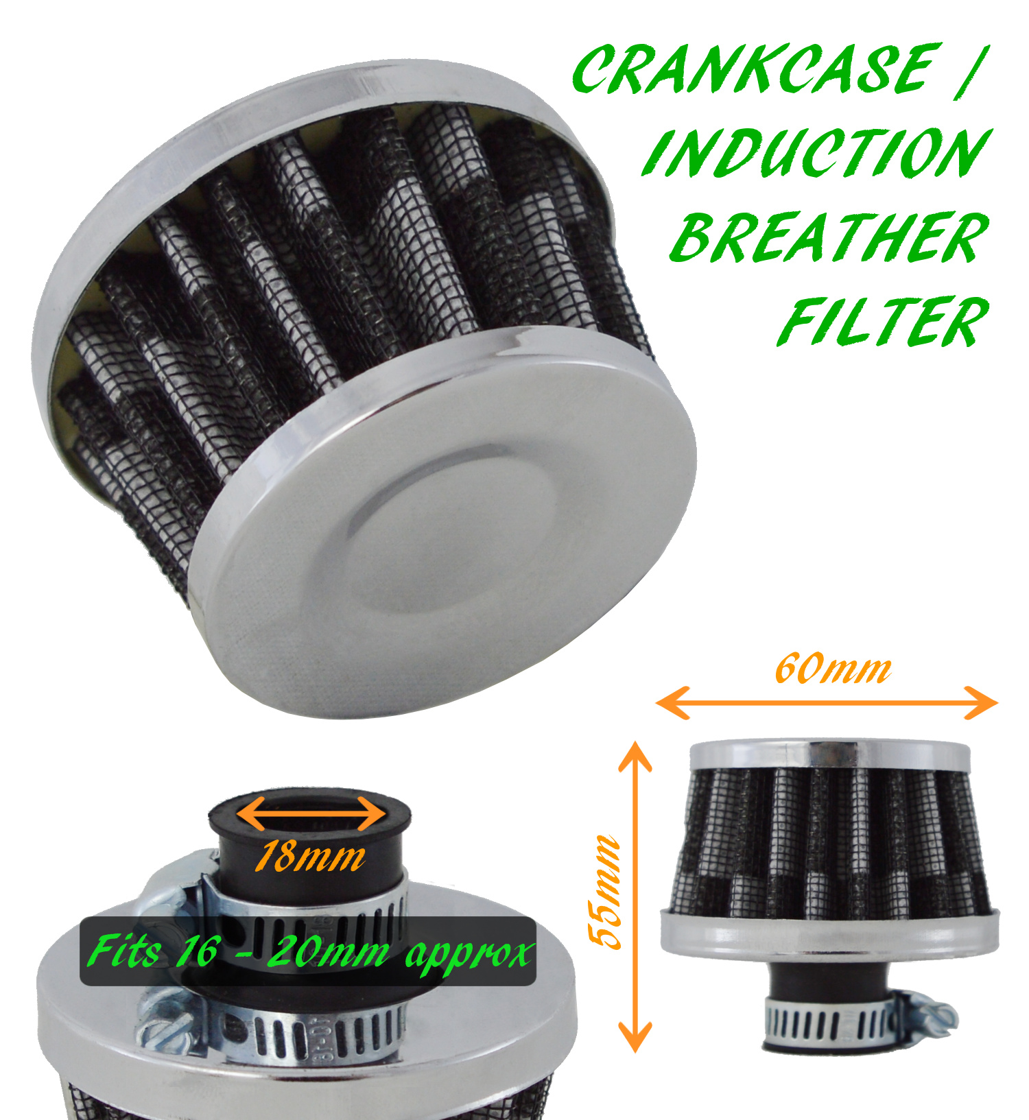 OIL MINI BREATHER AIR FILTER FUEL CRANKCASE ENGINE CAR Ford 2 CARBON
