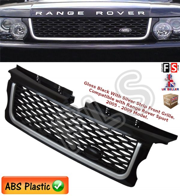 RANGE ROVER SPORT FRONT GRILLE 05-09 AUTOBIOGRAPHY STYLE LOOK GLOSS BLACK