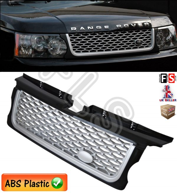RANGE ROVER SPORT FRONT GRILLE 10-13 AUTOBIOGRAPHY STYLE BLACK SILVER MESH