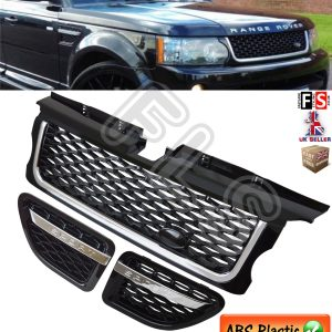 RANGE ROVER SPORT F/GRILLE & VENTS SET 05-09 AUTOBIOGRAPHY STYLE- BLACK & CHROME
