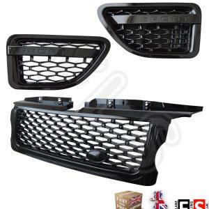 Gloss Black Front Grille /& Side Vents Black Mesh RR Sport L320 2010-13