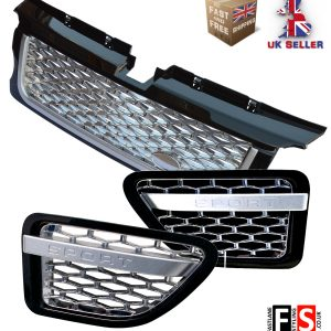 RANGE ROVER SPORT 05-09 AUTOBIOGRAPHY FRONT GRILLE & SIDE VENTS – BLACK CHROME