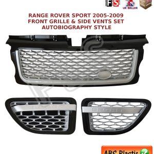 RANGE ROVER SPORT FRONT GRILLE VENT SET 05-09 AUTOBIOGRAPHY STYLE- SILVER/BLACK