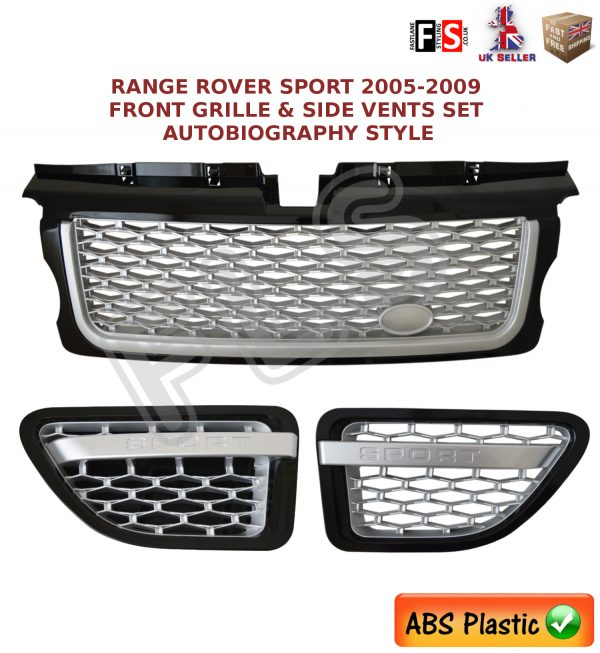 RANGE ROVER SPORT FRONT GRILLE VENT SET 05-09 AUTOBIOGRAPHY STYLE- SILVER/BLACK