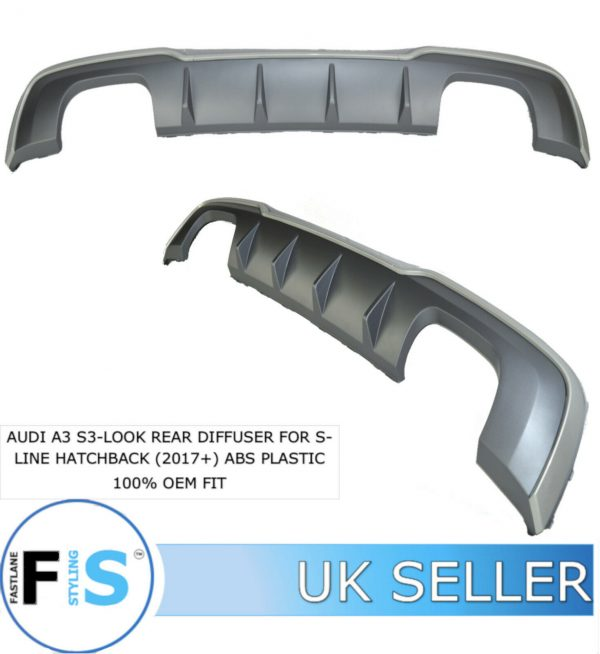 AUDI A3 HATCH S3 LOOK REAR DIFFUSER FOR S-LINE