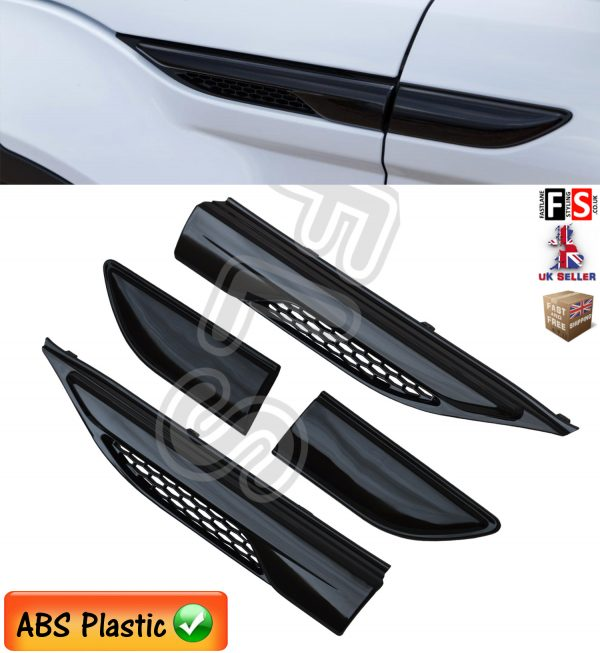 RANGE ROVER EVOQUE SIDE VENTS AIR WING VENTS FRONT GRILLE 2011+ GLOSS BLACK