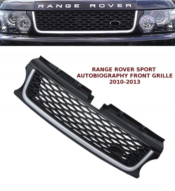 RANGE ROVER SPORT FRONT GRILLE AUTOBIOGRAPHY STYLE LOOK BLACK & SILVER 10-13