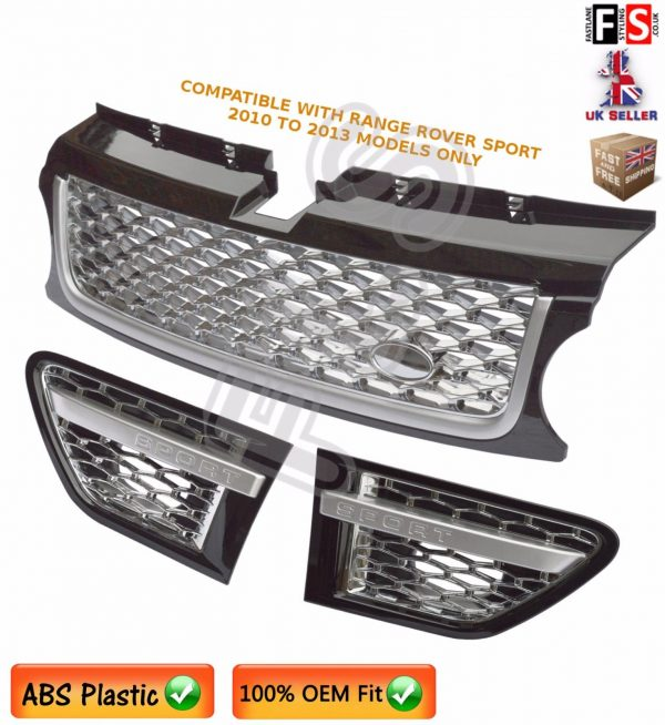 RANGE ROVER SPORT FRONT GRILLE SIDE VENTS SET AUTOBIOGRAPHY STYLE BLACK CHROME