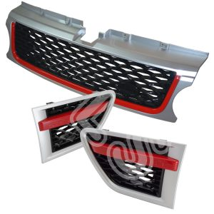 RANGE ROVER SPORT 10-13 FRONT GRILLE & SIDE VENTS STEP -RED BLACK-10RSGVSET-SBR