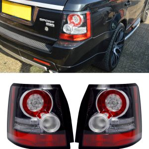 RANGE ROVER SPORT REAR LED BLACK TAIL LIGHTS PAIR 05-09 WITH RESISTORS FITTED