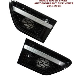 RANGE ROVER SPORT AUTOBIOGRAPHY 10-13 SIDE VENTS BLACK WITH SILVER STRIPE