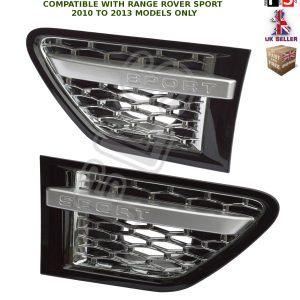 SIDE VENTS STEPS BLACK CHROME SILVER FRONT GRILLE FOR RANGE ROVER SPORT 10-13