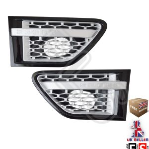 RANGE ROVER SPORT SIDE VENTS FITS 10-13 AUTOBIOGRAPHY STYLE – BLACK/SILVER MESH