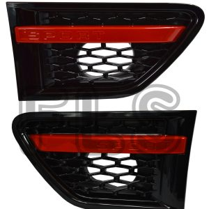SIDE VENTS RED BLACK STEPS FRONT GRILLE FOR USE ON RANGE ROVER SPORT 10-13
