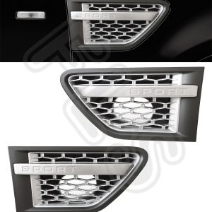 SIDE VENTS-GREY & SILVER FRONT GRILLE LAND RANGE ROVER SPORT 10-13 100% OEM FIT