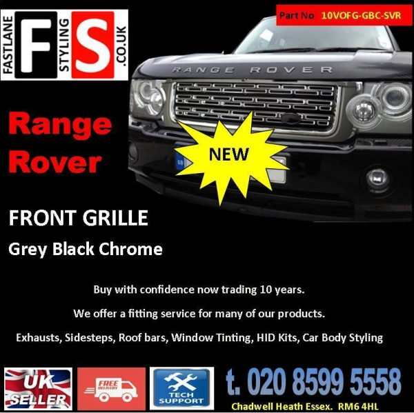 RANGE ROVER VOGUE L322 UPGRADE SVR STYLE FRONT GRILLE 10-13 -BLACK CHROME