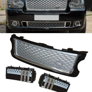 RANGE ROVER VOGUE L322 FRONT GRILLE & SIDE VENT SET BLACK SILVER & CHROME 10-13