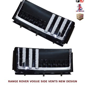 RANGE ROVER VOGUE L322 SIDE VENTS AUTOBIOGRAPHY STYLE 02-12 OEM FIT BLACK CHROME