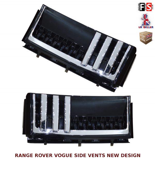 RANGE ROVER VOGUE L322 SIDE VENTS AUTOBIOGRAPHY STYLE 02-12 OEM FIT BLACK CHROME