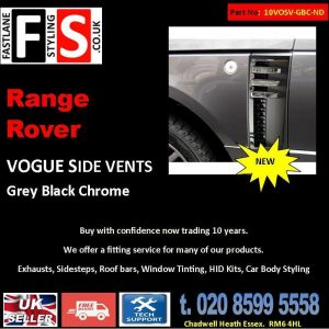 RANGE ROVER VOGUE L322 SIDE VENTS AUTOBIOGRAPHY STYLE 02-12 OEM GREY BLACK CHROME