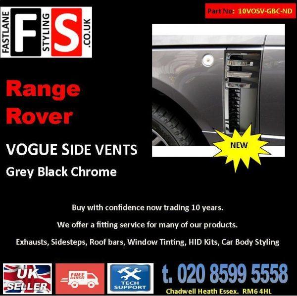 RANGE ROVER VOGUE L322 SIDE VENTS AUTOBIOGRAPHY STYLE 02-12 OEM GREY BLACK CHROME