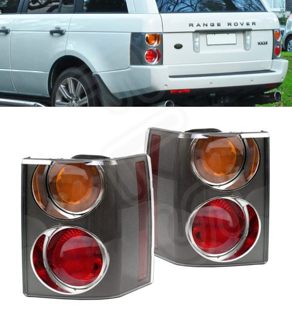 RANGE ROVER VOGUE L322 '02-'09 REAR TAIL LIGHT CLUSTER PAIR CARBON AMBER/RED
