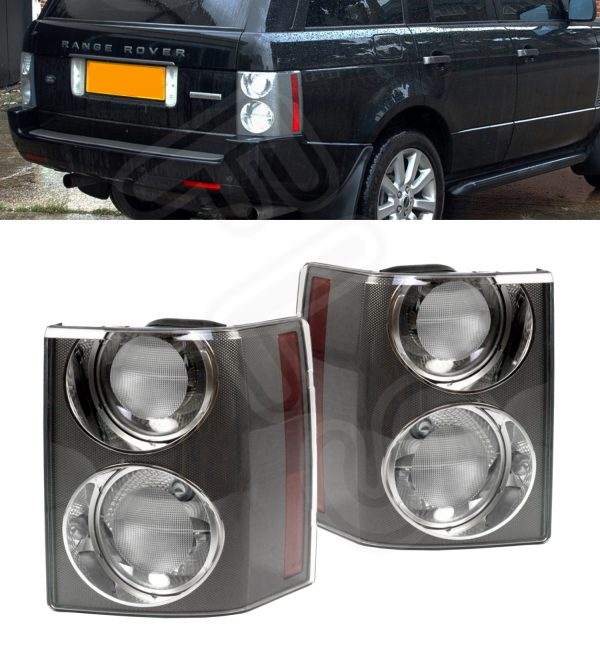 RANGE ROVER VOGUE L322 '02-'09 REAR TAIL LIGHT CLUSTER PAIR CARBON CLEAR/CLEAR