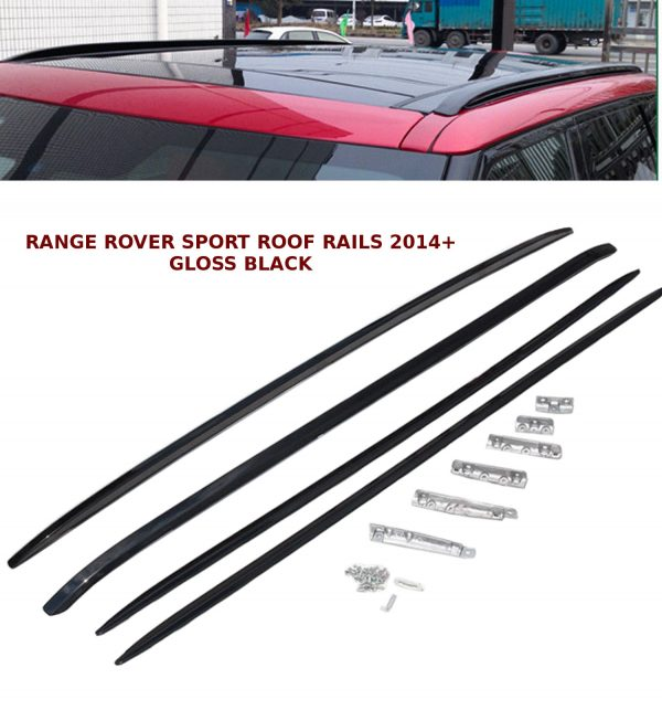 GLOSS BLACK ALUMINIUM ROOF RAILS ROOF BAR RACKS FOR RANGE ROVER SPORT 2014+