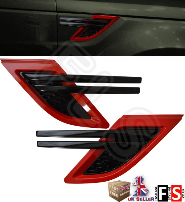 NEW SHAPE RANGE ROVER SPORT 2014 UP SIDE VENTS – BLACK & RED L494