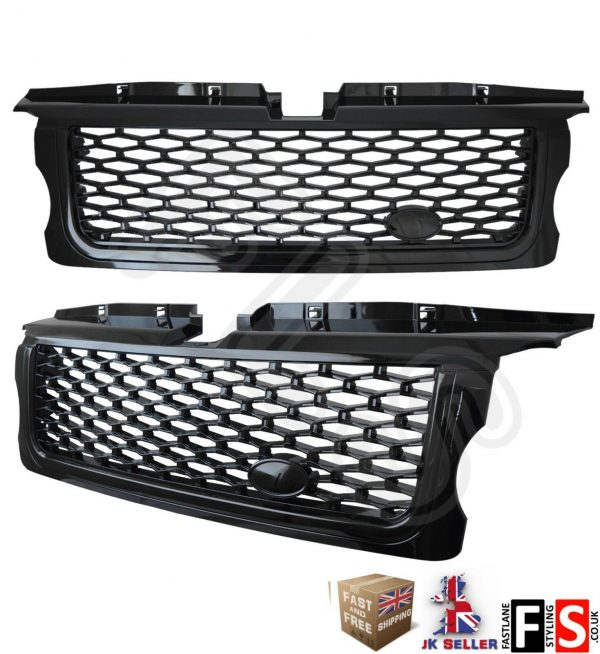 RANGE ROVER SPORT FRONT GRILLE 05-09 AUTOBIOGRAPHY STYLE LOOK ALL BLACK