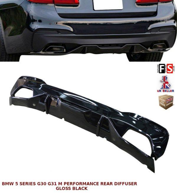 BMW 5 SERIES G30 G31 M PERFORMANCE REAR BUMPER DIFFUSER VALANCE GLOSS BLACK