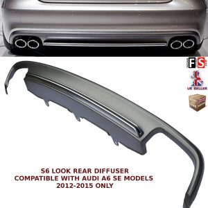 AUDI A6 S6 LOOK ABS QUAD EXHAUST REAR DIFFUSER