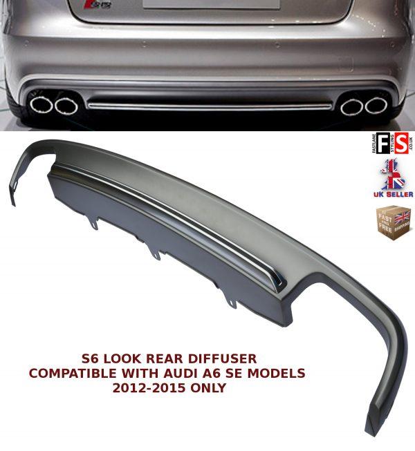 AUDI A6 REAR BUMPER DIFFUSER S6 LOOK SPOILER LIP VALANCE SPLITTER 2012-2015