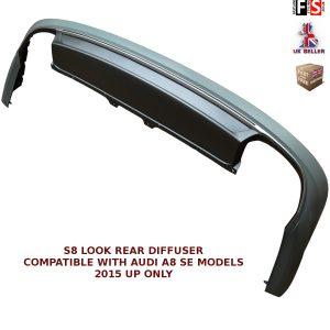 AUDI A8 SE MODEL REAR BUMPER DIFFUSER S8 LOOK SPOILER LIP VALANCE SPLITTER 15+
