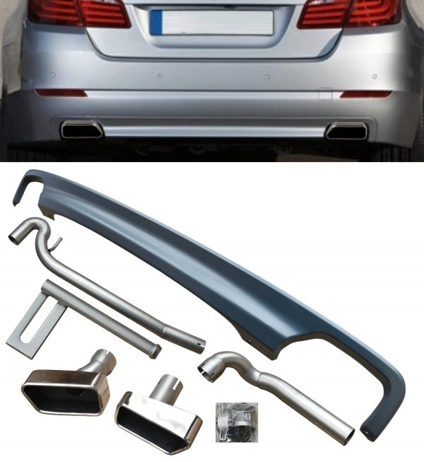 BMW F10 F11 REAR DIFFUSER DOUBLE OUTLET 5er 2011+ 550i V8 LOOK + TIPS & PIPEWORK