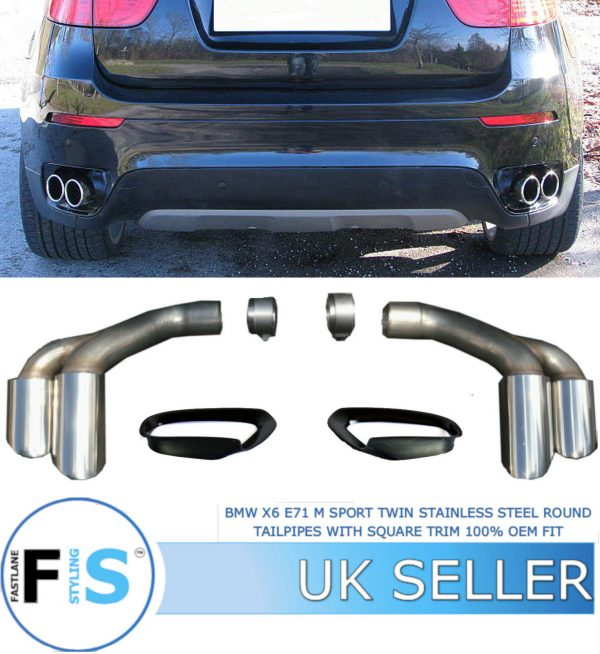 BMW X6 E71 M SPORT TWIN STAINLESS STEEL EXHAUST ROUND TAILPIPES WITH SQUARE TRIM