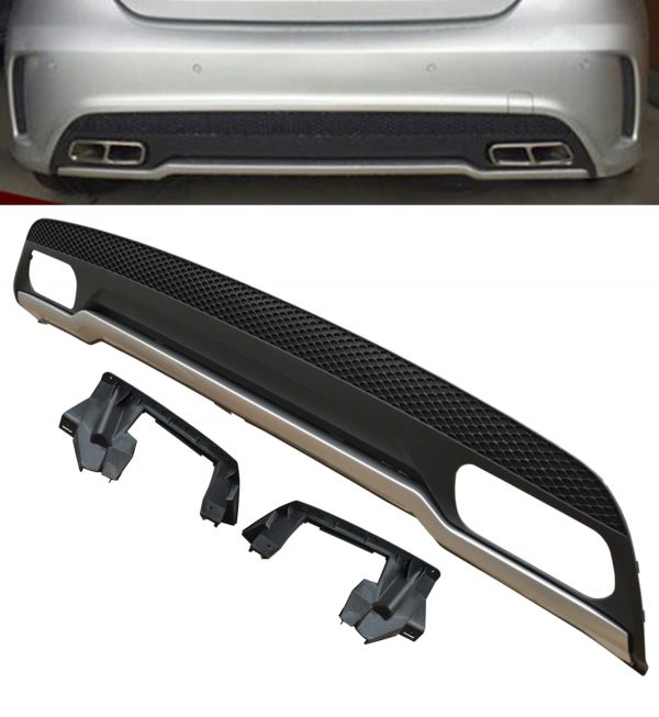 MERCEDES A CLASS A45 W176 AMG REAR DIFFUSER BUMPER VALANCE BLACK WITH SILVER