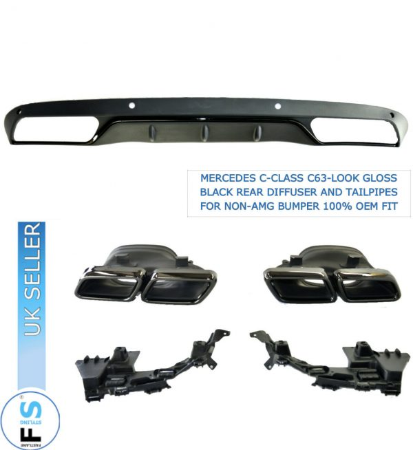 MERCEDES C-CLASS W205 C63-LOOK GLOSS BLACK DIFFUSER TAILPIPES