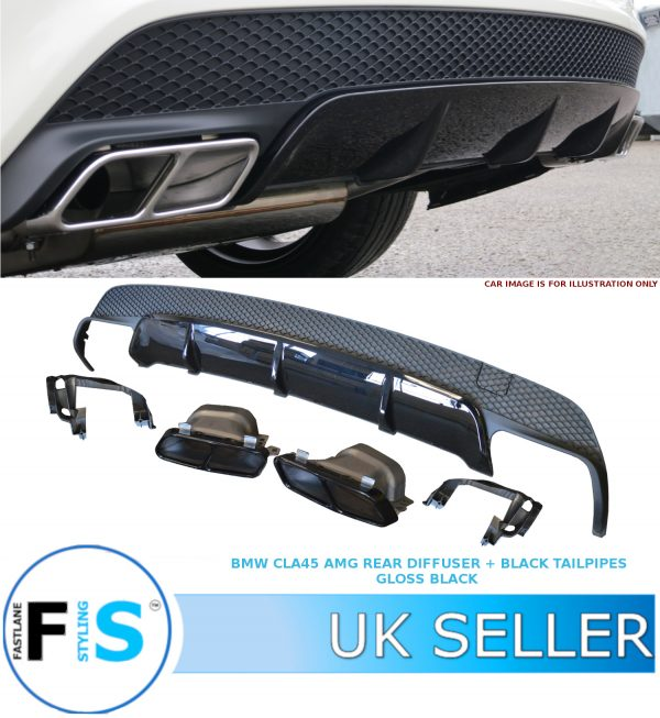 MERCEDES CLA W117/C117 CLA45 STYLE REAR DIFFUSER & TAILPIPES