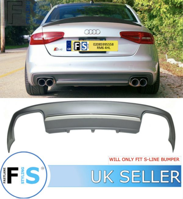 AUDI A4 S4-LOOK REAR DIFFUSER FOR S-LINE