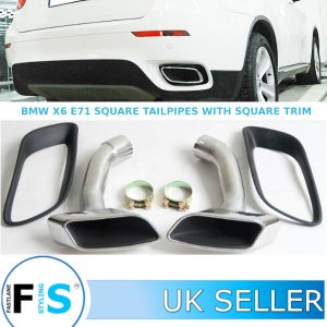 BMW X6 E71 M SPORT TWIN STAINLESS STEEL EXHAUST SQUARE TAILPIPES