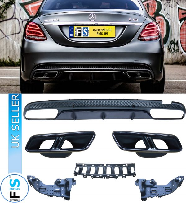 MERCEDES C CLASS W205 C63 AMG DIFFUSER & TAILPIPES