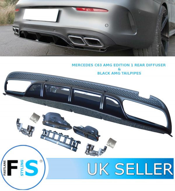 MERCEDES C CLASS W205 AMG C63 LOOK REAR DIFFUSER