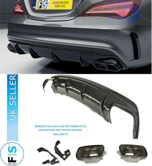 MERCEDES CLA45 W/C117 CARBON LOOK DIFFUSER EXHAUST TAILPIPES