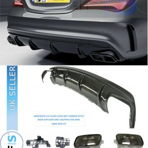 MERCEDES AMG AMG X117 C117 CLA45 STYLE REAR DIFFUSER EXHAUST TAILPIPES