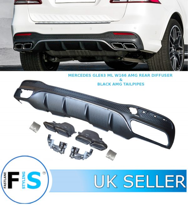 MERCEDES GLE ML W166 (X292) AMG GLE63 STYLE REAR DIFFUSER & TAILPIPE