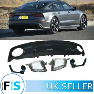 AUDI A7 RS7 LOOK REAR BUMPER DIFFUSER AND RS WIDE TIPS